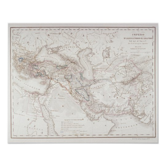 Map of Alexander the Greats Empire Poster