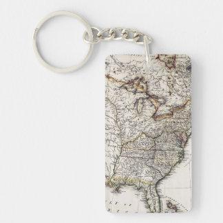 MAP OF AMERICA, 1809 Double-Sided RECTANGULAR ACRYLIC KEY RING