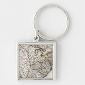 MAP OF AMERICA, 1809 Silver-Colored SQUARE KEY RING