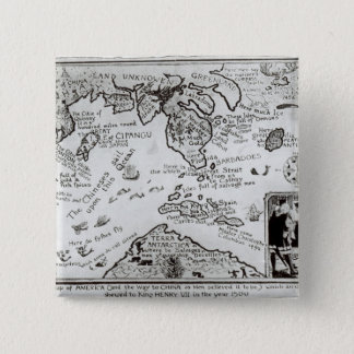 Map of America and directions to China 15 Cm Square Badge