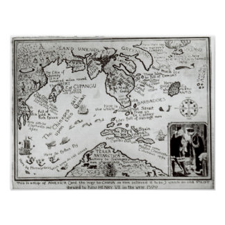 Map of America and directions to China Poster