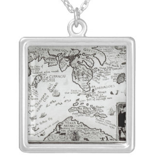Map of America and directions to China Silver Plated Necklace