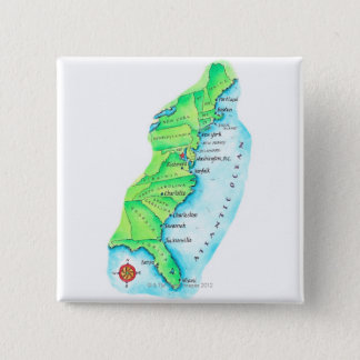 Map of American East Coast 15 Cm Square Badge