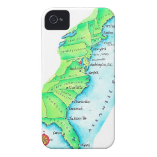 Map of American East Coast Case-Mate iPhone 4 Cases