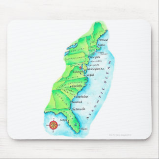 Map of American East Coast Mouse Pad