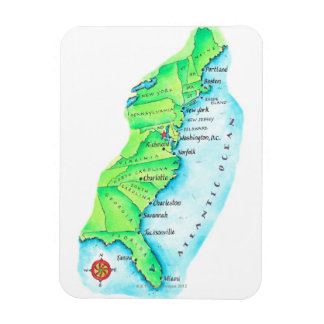 Map of American East Coast Rectangular Photo Magnet