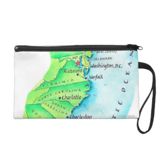 Map of American East Coast Wristlet Clutches