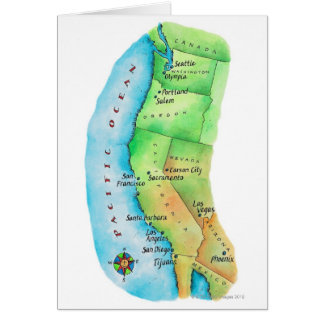 Map of American West Coast Card