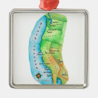 Map of American West Coast Christmas Ornament