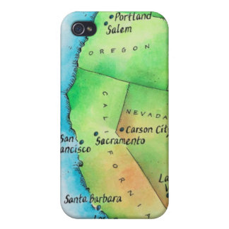 Map of American West Coast Covers For iPhone 4
