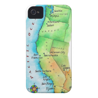 Map of American West Coast iPhone 4 Case-Mate Cases