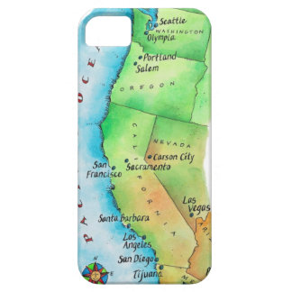 Map of American West Coast iPhone 5 Cases
