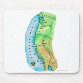 Map of American West Coast Mouse Mat