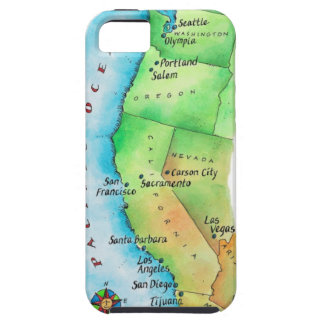 Map of American West Coast Tough iPhone 5 Case