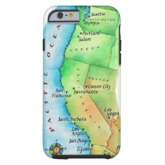 Map of American West Coast Tough iPhone 6 Case