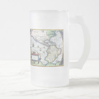 Map of Americas New World 1570 Frosted Glass Beer Mug