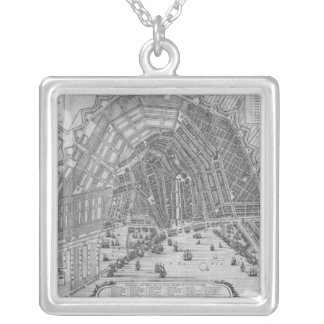 Map of Amsterdam, 1662 Silver Plated Necklace