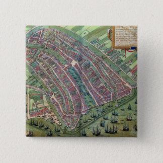 Map of Amsterdam, from 'Civitates Orbis Terrarum' 15 Cm Square Badge