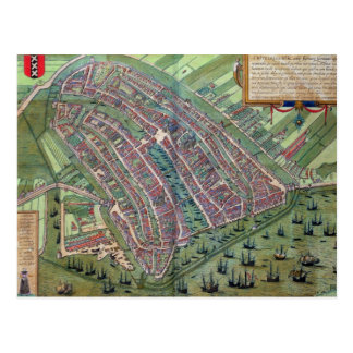 Map of Amsterdam, from 'Civitates Orbis Terrarum' Post Card