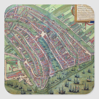 Map of Amsterdam, from 'Civitates Orbis Terrarum' Square Sticker