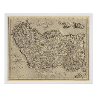 Map of Ancient Ireland by Mercator 1580 Poster