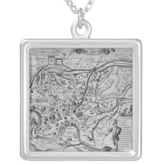Map of Ancient Rome Silver Plated Necklace