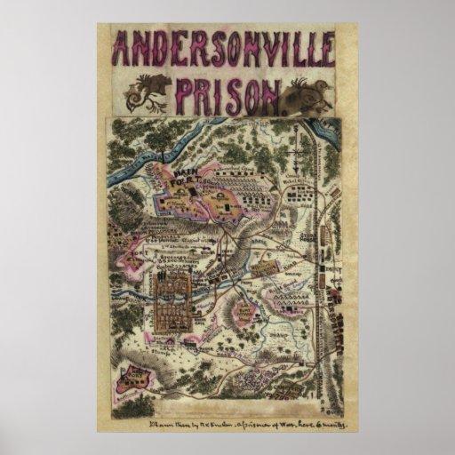 Map of Andersonville Prison Civil War Poster