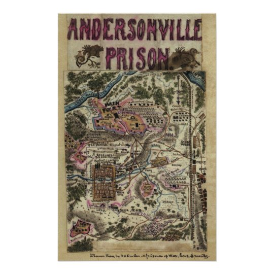 Map of Andersonville Prison Civil War Poster