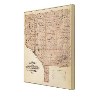 Map of Anoka County, Minnesota Stretched Canvas Prints