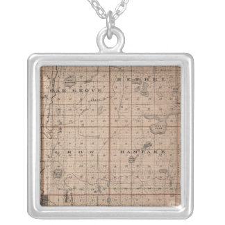 Map of Anoka County, Minnesota Silver Plated Necklace
