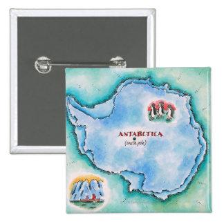 Map of Antarctica 15 Cm Square Badge