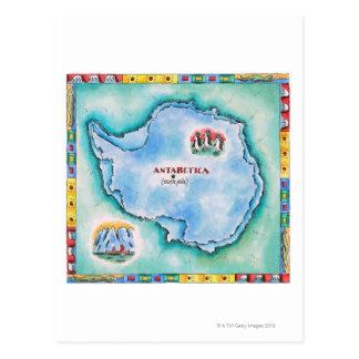 Map of Antarctica Postcard
