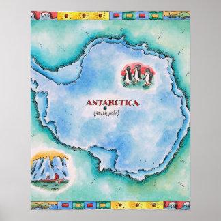 Map of Antarctica Poster
