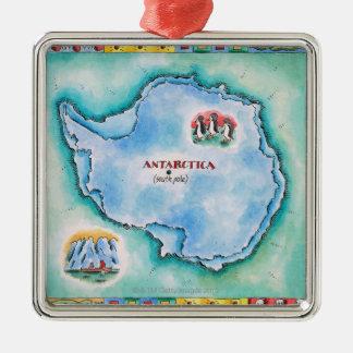 Map of Antarctica Silver-Colored Square Decoration