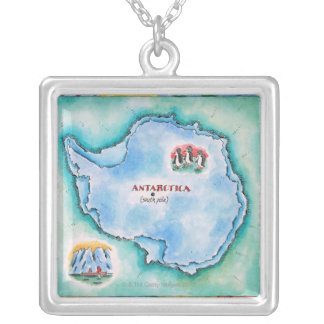 Map of Antarctica Silver Plated Necklace