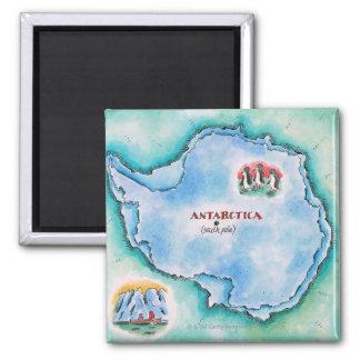 Map of Antarctica Square Magnet