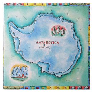 Map of Antarctica Tile
