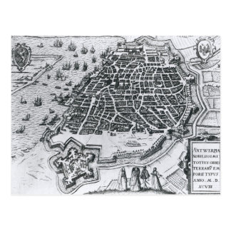 Map of Antwerp, 1598 Postcard