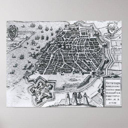 Map of Antwerp, 1598 Poster