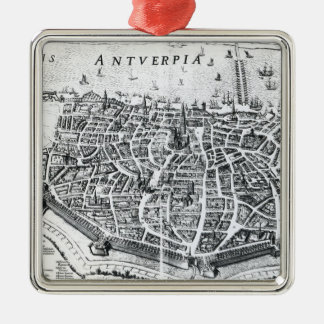 Map of Antwerp Silver-Colored Square Decoration