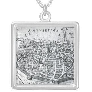 Map of Antwerp Silver Plated Necklace