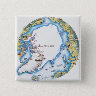 Map of Arctic 15 Cm Square Badge