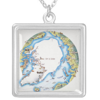 Map of Arctic Silver Plated Necklace
