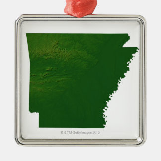 Map of Arkansas Silver-Colored Square Decoration