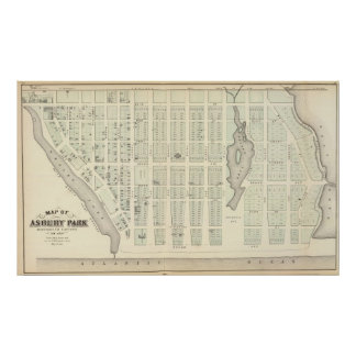 Map of Asbury Park, Monmouth County, New Jersey Poster