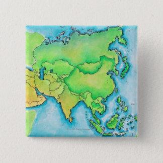 Map of Asia 15 Cm Square Badge
