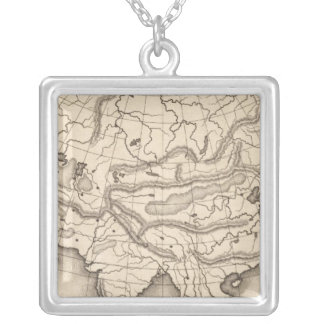 Map of Asia 2 Silver Plated Necklace