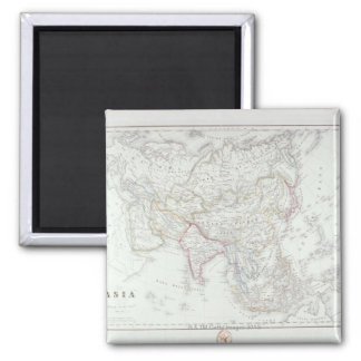 Map of Asia 2 Square Magnet