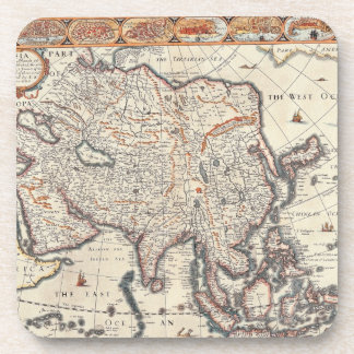 Map of Asia 3 Beverage Coasters