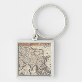 Map of Asia 3 Silver-Colored Square Key Ring